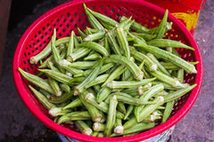 Verse Okra Dame Fingers op Aziatische markt Stock Foto's