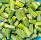 Verse okra's klaar te koken Stock Afbeelding