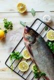 Verse ongekookte zilveren karper met citroen stock afbeelding