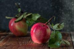 Verse oogst van appelen Aardthema met rode druiven op houten achtergrond Stock Afbeelding