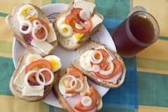 Verse open sandwiches Royalty-vrije Stock Foto's