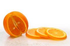 Verse oranje Vruchten met plakken Stock Foto's