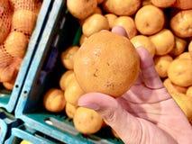 Verse oranje, zoete en zure smaak tussen haakjes, moest ik de nieuwe sinaasappel nemen stock foto