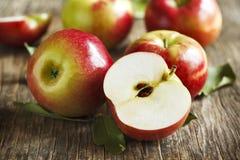 Verse organische appelen met bladeren Royalty-vrije Stock Foto
