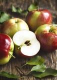 Verse organische appelen met bladeren Stock Afbeeldingen
