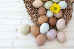 Verse organische chickeneggs in oude stoffige mand op houten backgrou Stock Foto