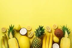 Verse organische gele vruchten over zonnige achtergrond Zwart-wit concept met banaan, kokosnoot, ananas, citroen, meloen bovenkan royalty-vrije stock afbeelding