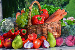 Verse organische groenten en vruchten in de tuin Stock Afbeelding