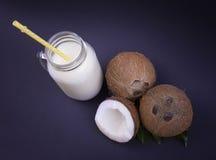 Verse, organische kokosnoten en een hoogtepunt van de metselaarkruik van natuurlijke kokosmelk met een geel stro op een donkerbla Royalty-vrije Stock Fotografie