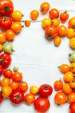 Verse organische tomaten van verschillende kleuren stock afbeelding