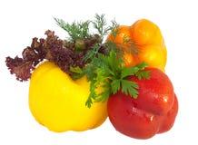 Verse paprika's en greens die op wit worden geïsoleerdK Stock Afbeelding