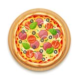 Verse pizza met tomaat, kaas, olijf, worst, ui royalty-vrije illustratie