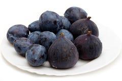 Verse pruimen en fig. Royalty-vrije Stock Foto's