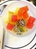 Verse puddingsfruitsalade Verse puddingsfruitsalade royalty-vrije stock foto