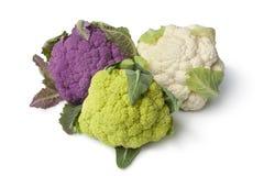 Verse purpere, groene en witte bloemkool Stock Foto's