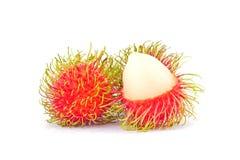 Verse rambutan zoete heerlijk op wit achtergrond gezond rambutan tropisch geïsoleerd fruitvoedsel stock foto's