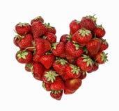 Verse rijpe aardbeien in hartvorm Stock Afbeelding