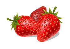 Verse rijpe aardbeien op een witte achtergrond stock foto