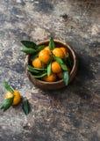 Verse rijpe mandarijnen in een houten kom op houten achtergrond Royalty-vrije Stock Afbeelding