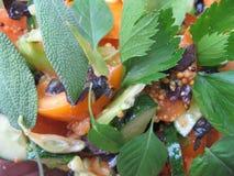 Verse rijpe tomatensalade met salie en selery stock foto