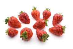 Verse Rode Aardbeien die op Witte Backgound worden geïsoleerd Stock Foto's