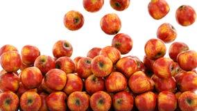 Verse rode appelen dalende achtergrond Het concept van het voedsel isoleer het 3d teruggeven Royalty-vrije Stock Afbeeldingen
