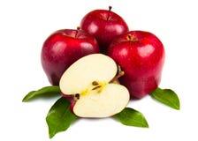 Verse rode appelen met bladeren Royalty-vrije Stock Foto