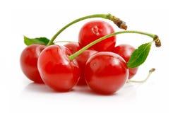 Verse rode kersen met groene bladeren Stock Foto's