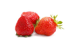 Verse rode rijpe aardbeien op witte dichte omhooggaand Stock Fotografie