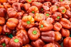 Verse rode zoete groene paprika's op vertoning bij de markt Stock Foto's