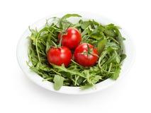 Verse rucolabladeren in een kom met tomaten Stock Afbeeldingen