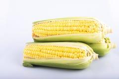 Verse ruwe zoete maïskolven pitten over witte achtergrond royalty-vrije stock foto's