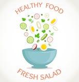 Verse salade, gezonde maaltijd Vector illustratie Royalty-vrije Stock Fotografie