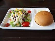 Verse salade met gebraden gepaneerd en plantaardig Royalty-vrije Stock Foto's