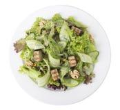 Verse salade met okkernoten en tofu kaas stock foto