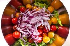 Verse salade met rucola, tomatenkers, feta-kaas en rode ui in een kom Hoogste mening royalty-vrije stock fotografie