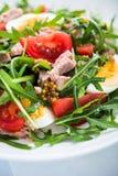 Verse salade met tonijn, tomaten, eieren, arugula en mosterd op blauwe houten dichte omhooggaand als achtergrond Royalty-vrije Stock Afbeelding