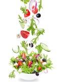 Verse salade met vliegende groenteningrediënten Stock Afbeeldingen