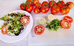 Verse salade op wit Royalty-vrije Stock Afbeeldingen