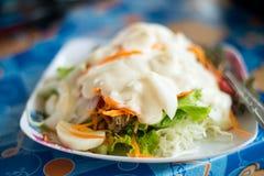 Verse saladebladeren stock foto's