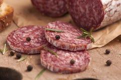 Verse salami stock foto's