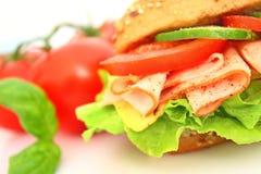 Verse sandwich met ham en kaas en groenten Stock Afbeeldingen