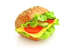 Verse sandwich met kaas en groenten Stock Foto's