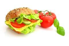 Verse sandwich met kaas en groenten Stock Afbeeldingen