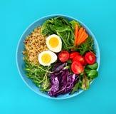 Verse sappige en knapperige de kom gezonde maaltijd van Boedha met quinoa en royalty-vrije stock afbeeldingen
