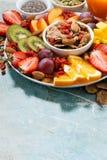 Verse seizoengebonden vruchten, sappen en super voedsel Stock Foto