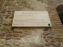 Verse by Shakespeare at House of Juliet in Verona. VERONA, ITALY - CIRCA JULY 2016: Verse by William Shakespeare from love tragedy Romeo and Juliet at House of Royalty Free Stock Photos