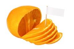 Verse sinaasappel met een teken stock foto's