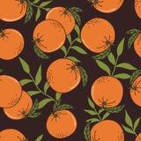 Verse sinaasappelen, bladeren, decoratieve achtergrond Naadloos patroon met citrusvruchten vector illustratie