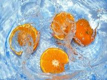 Verse sinaasappelen in water royalty-vrije stock afbeelding